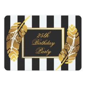 25th Birthday Gold Feather Black White Stripes Invitation