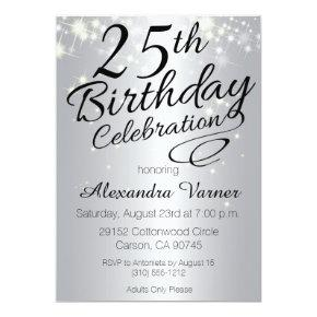 25th Birthday Invitations - Silver Sparkly Invites