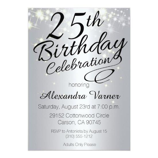 25th Birthday Invitations Silver Sparkly Invites Candied Clouds