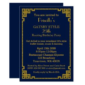 25th,Birthday party, Gatsby style, navy & gold Invitations