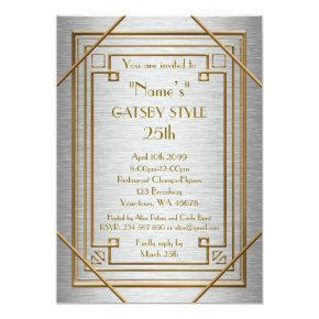 25th,Birthday party, Gatsby style, silver & gold Invitations
