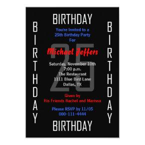 25th Birthday Party Invitations 25