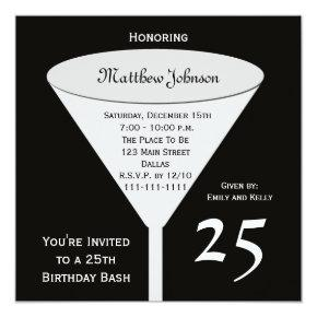 25th Birthday Party Invitations 25th Birthday Bash