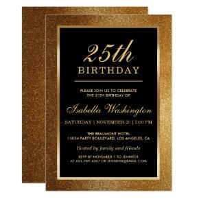 25th Birthday Party | Trendy Glam Gold Glitter Invitations