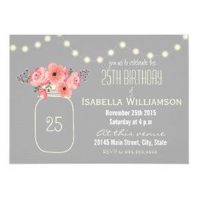 25th Birthday Pink Watercolor Flowers & Mason Jar Card