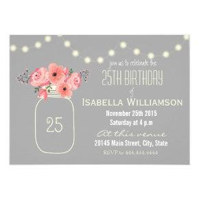 25th Birthday Pink Watercolor Flowers & Mason Jar Invitations