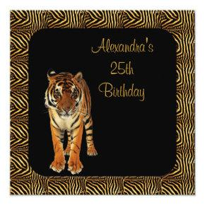 25th Birthday Tiger with Animal Print Frame Invitations
