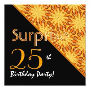 25th Surprise Birthday Black and Gold Diagonal Card