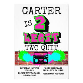 2 Legit Two Quit Fresh Graffiti 90s Style Birthday Invitation