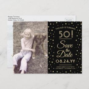 2 Photo Any Age Birthday Gold Black Save the Date Invitation Post