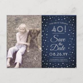2 Photo Any Age Birthday Navy Silver Save the Date Invitation Post