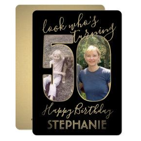 2 Photo Look Who's 50 Fiftieth Birthday Black Gold Invitation