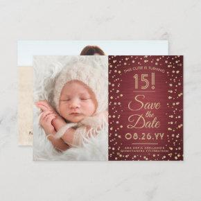 2 Photo Quinceanera Elegant Burgundy Gold Glitter Save The Date