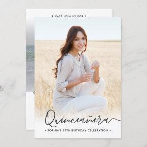 2 Photo Quinceanera Elegant Script 15th Birthday Invitation