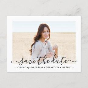 2 Photo Quinceanera Elegant Script Save the Date Announcement Post