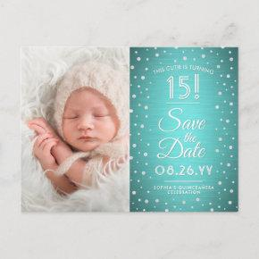 2 Photo Quinceanera Teal Blue Silver Save the Date Invitation Post