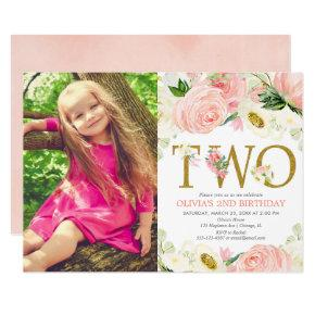 2nd birthday girl, blush pink gold floral photo invitation