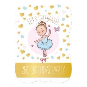 2nd Birthday Party | Princess Ballerina in Tutu Invitation