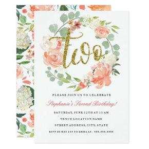 2nd Birthday Pink Gold Floral Wreath Invitations