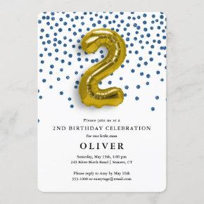 2nd Birthday Royal Blue Confetti and Gold Balloon Invitation