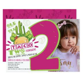 2nd Birthday Taco Fiesta Photo Invitation