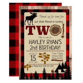 2nd Birthday Wild One Flannel Little Moose Theme Invitation