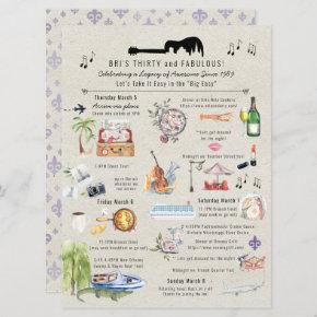 30 and Fabulous | New Orleans Birthday Itinerary Invitation
