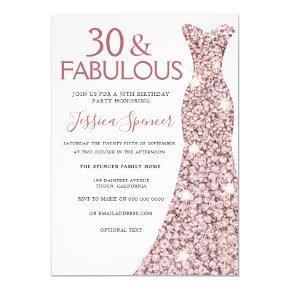 30 Fabulous Rose Gold Dress 30th Birthday Party Invitation