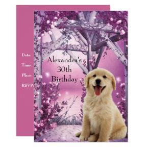 30th Birthday Golden Retriever Winter Pink Invitation