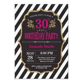 30th Birthday Invitation. Black and Gold Glitter Invitation