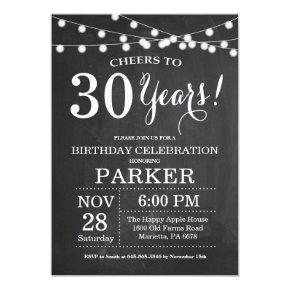 30th Birthday Invitation Chalkboard