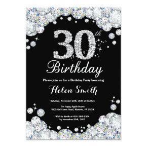 30th Birthday Invitation Chalkboard Silver Diamond