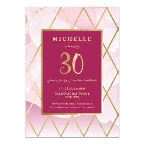 30th Birthday Invitation - Gold, Elegant, Trendy