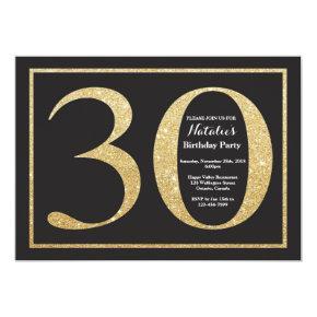 30th Birthday Invitations Gold Glitter Chalkboard