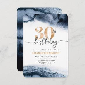 30th birthday invitation Navy watercolor and gold