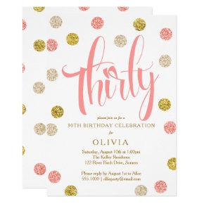 30th Birthday Invitations, Pink and Gold Invitations