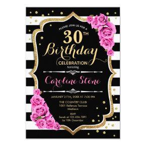 30th Birthday Invitation Pink Black White Stripes