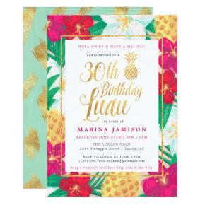 30th Birthday Luau Invitations | Pink & Gold
