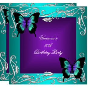 30th Birthday Party Purple Teal Butterflies Silver Card