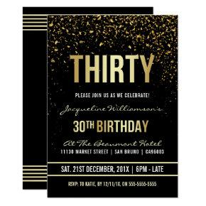 30th Birthday Party | Shimmering Gold Confetti Invitations