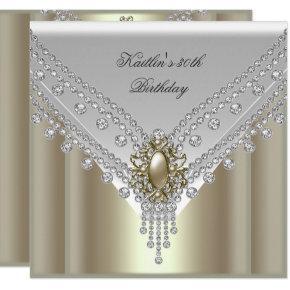 30th Birthday Party White Cream Pearl Diamond Invitation