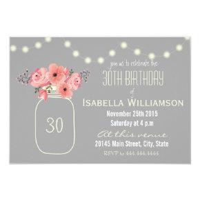 30th Birthday Pink Watercolor Flowers & Mason Jar Invitation