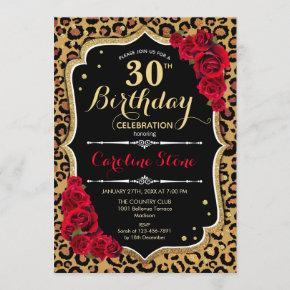 30th Birthday - Red Roses Leopard Print Invitation