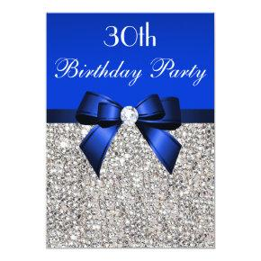 30th Birthday Royal Blue Bow Silver Sequins Invitation
