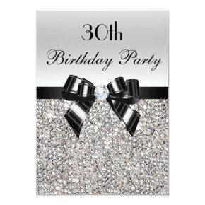 30th Birthday Silver Sequin Black Bow Diamond Card