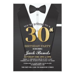 30th Birthday Spy Suit Black tie Gold Invitation