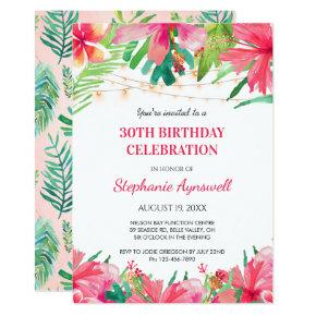 30th Birthday Tropical String Lights Hawaiian Invitation