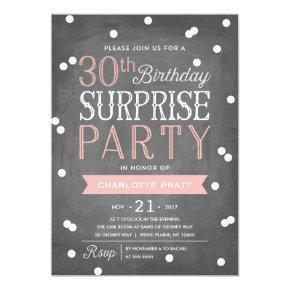 30th Confetti Surprise Party Invitations | Birthday