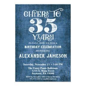 35th Birthday Invitation Blue Linen Rustic Cheers