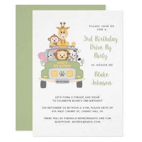 3rd Birthday Animal Safari Drive By Party Invitation